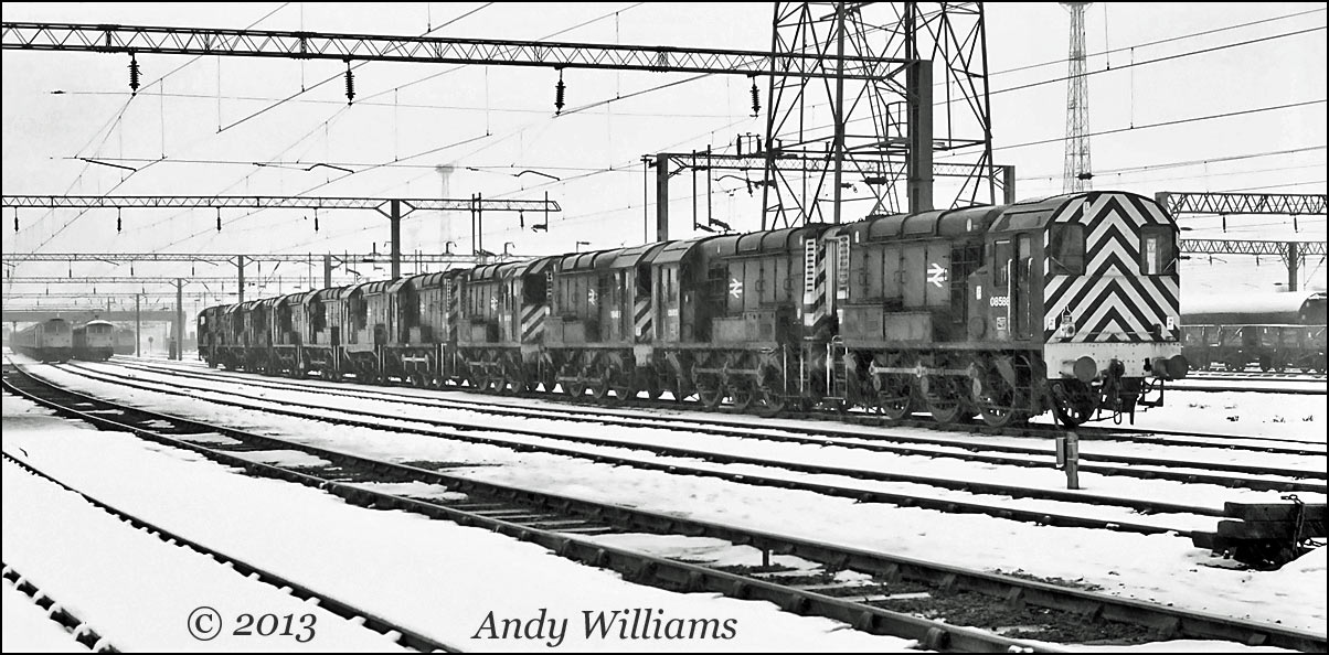 Row of twelve Class 08s at Bescot