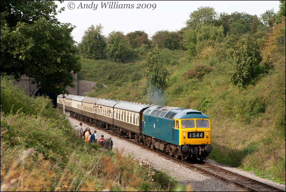 47105 emerging from Greet tunnel, Winchcombe