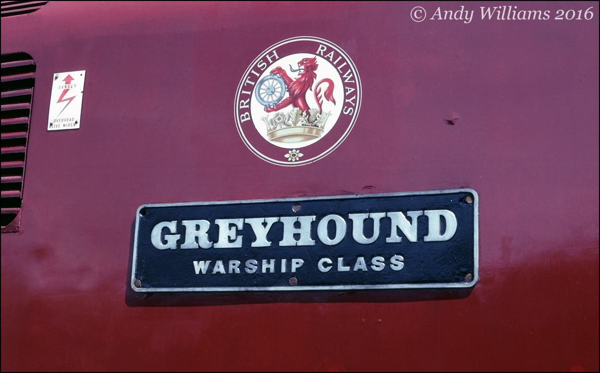 Nameplate of D821 Greyhound