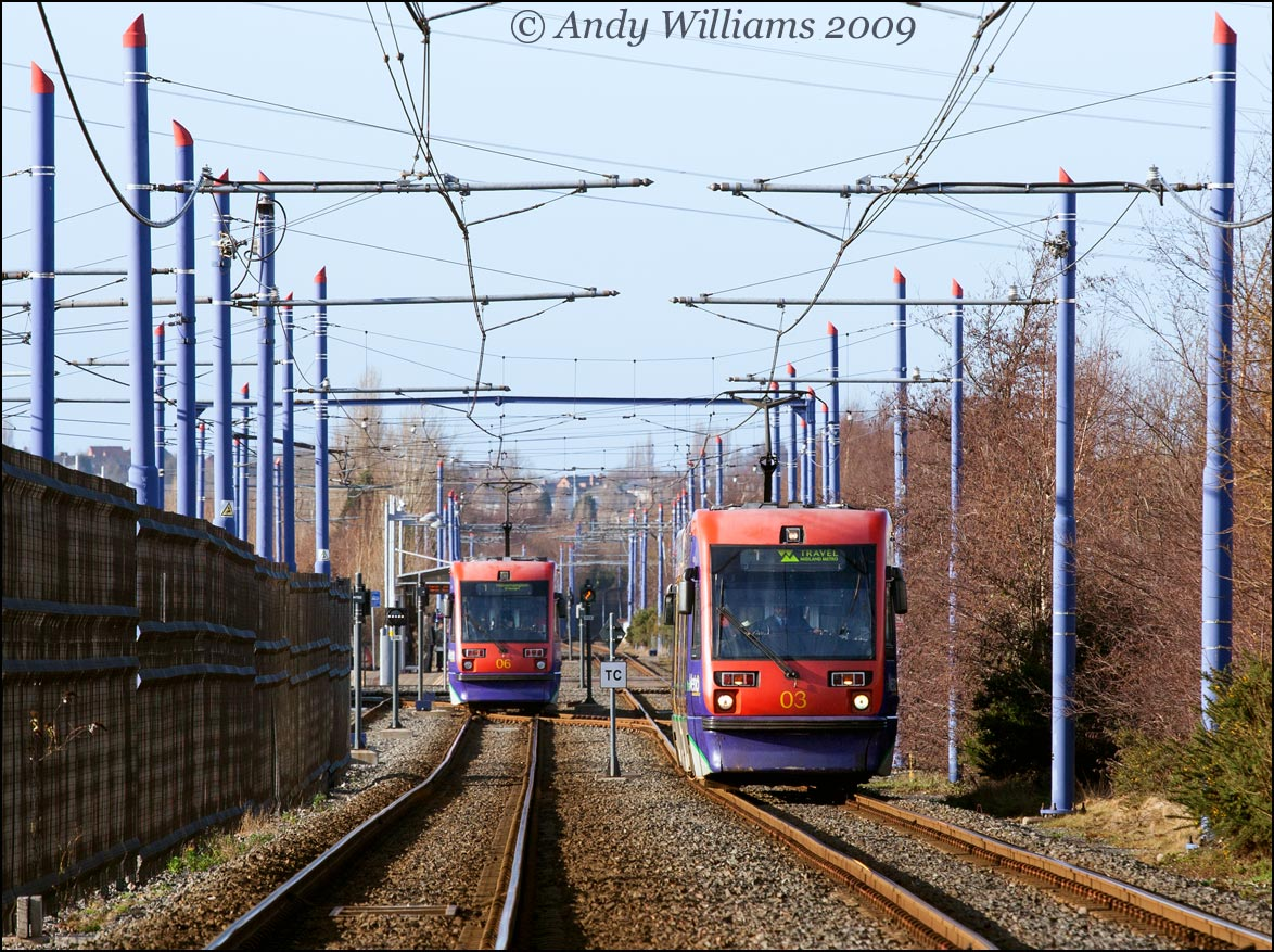 Trams 06 and 03 at Wednesbury