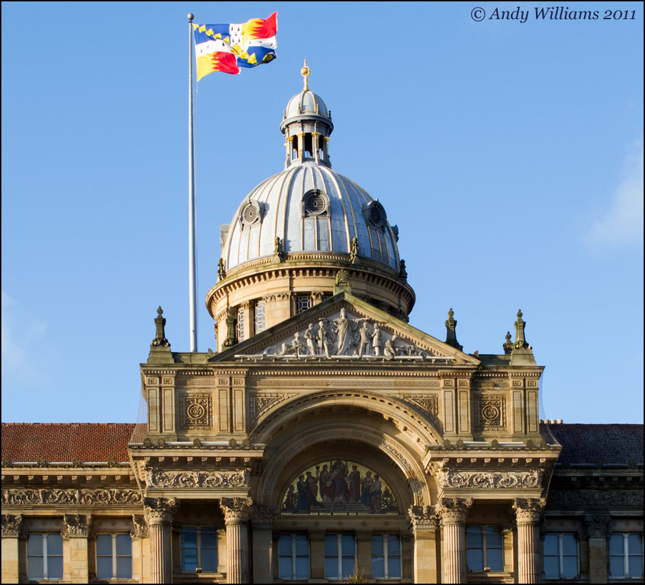 Birmingham Council House and the city's flag