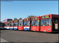 Single deck buses at West Bromwich garage