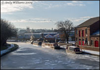Narrowboats on the frozen canal, Tipton