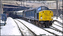 40022 in the snow at Birmingham New St