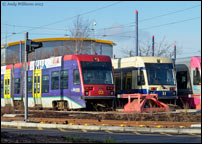 Withdrawn Midland Metro trams 03 and 11 at Wednesbury depot