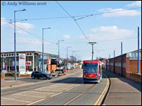 Tram 08 on the Bilston Road, Wolverhampton